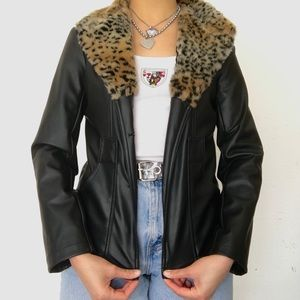 Y2K Leopard print trimmed faux leather jacket